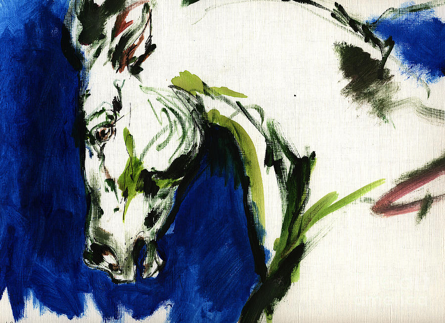Horse Artwork Painting - Wild Horse by Angel  Tarantella