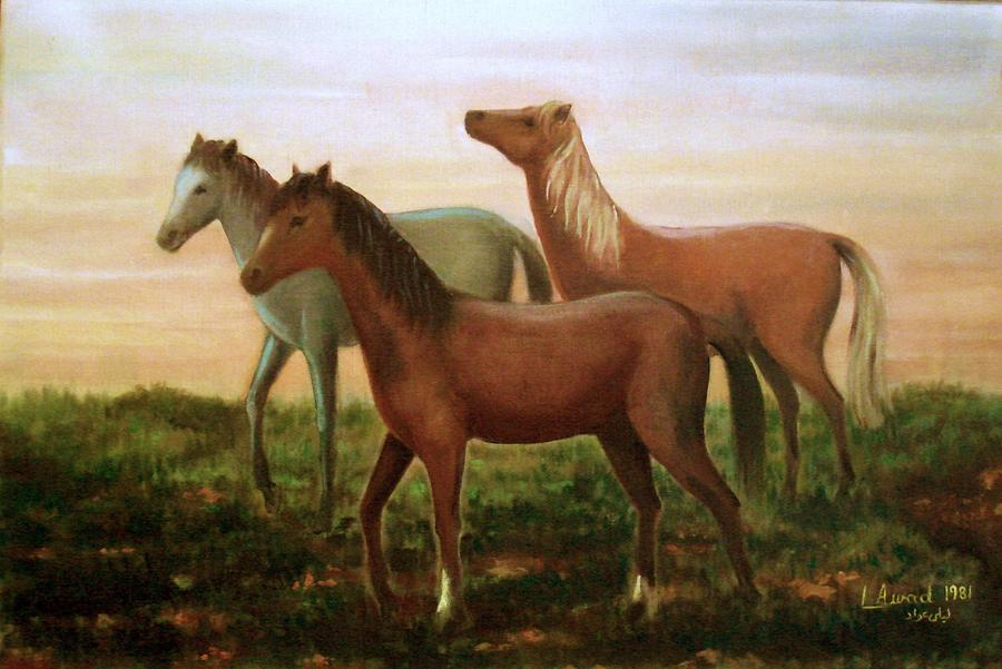Wild Horses At Sunset. Painting