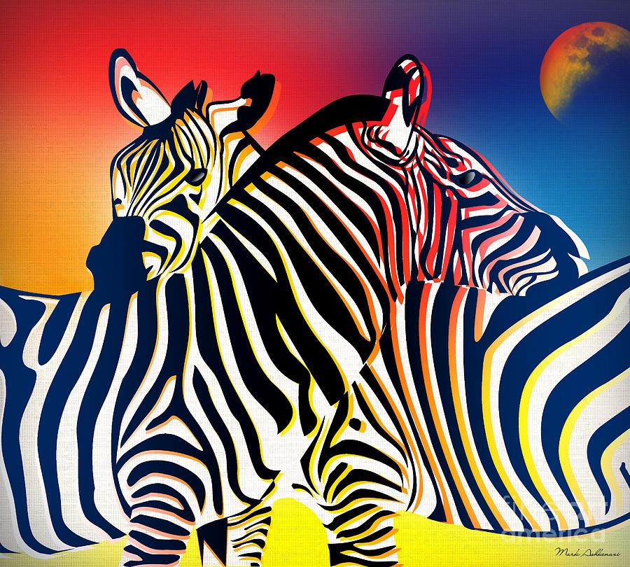 Zebra  Painting - Wild Life 2 by Mark Ashkenazi