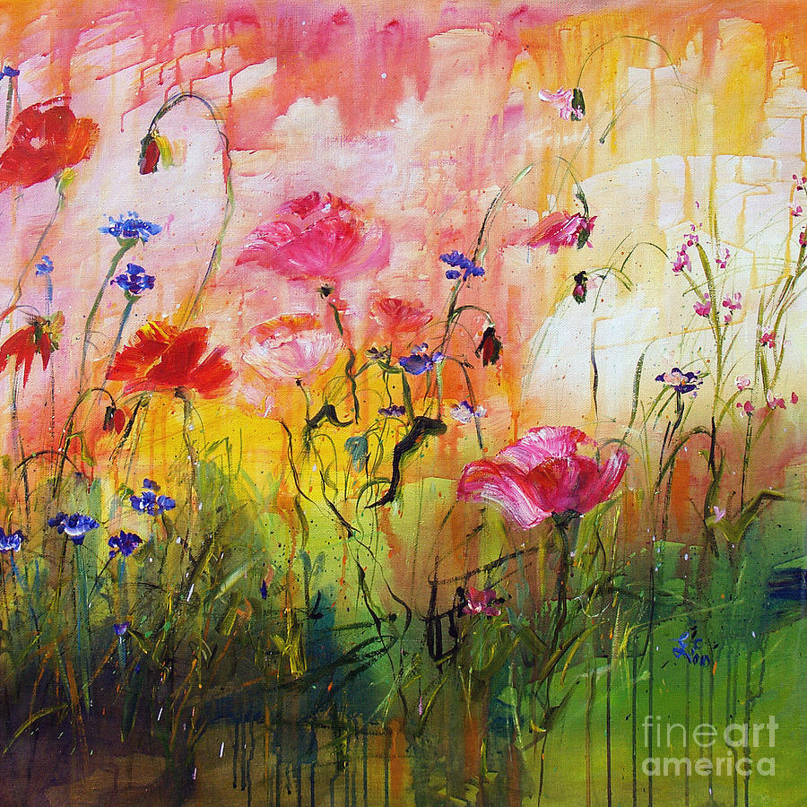 Wildflowers And Pink Poppies Painting  - Wildflowers And Pink Poppies Fine Art Print