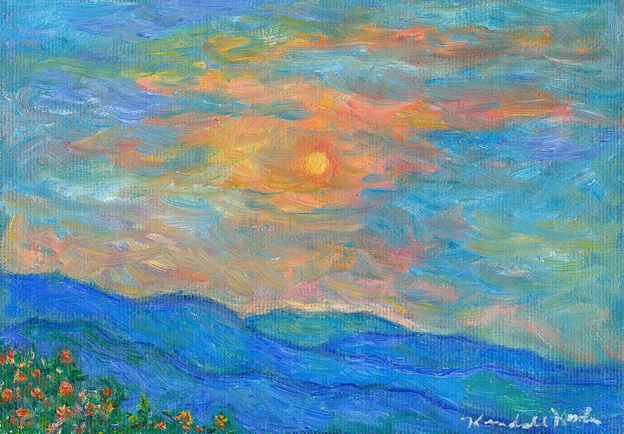 Wildflowers By A Blue Ridge Sunset Painting