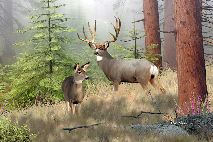 mule deer art painting artwork print north american wildlife art mule deer hunting monster buck Magical Forest