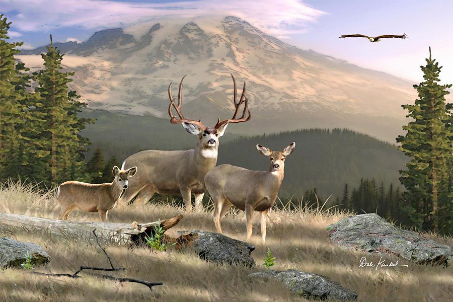 mule deer art painting artwork print north american wildlife art mule deer hunting monster buck wilderness family