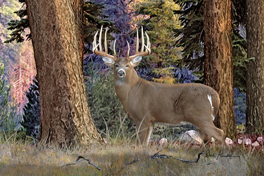 deer art painting artwork print north american wildlife art whitetail deer hunting monster buck Granddaddy of 'Em All