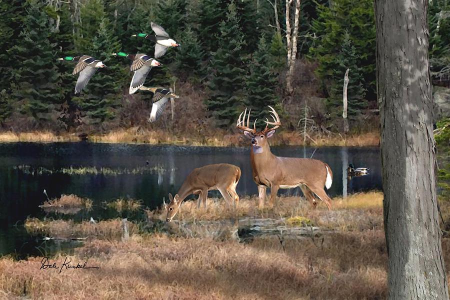 deer art painting artwork print north american wildlife art whitetail deer hunting monster buck deer lake