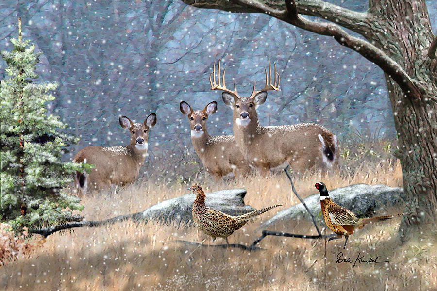 deer art painting artwork print north american wildlife art whitetail deer hunting monster buck first snow