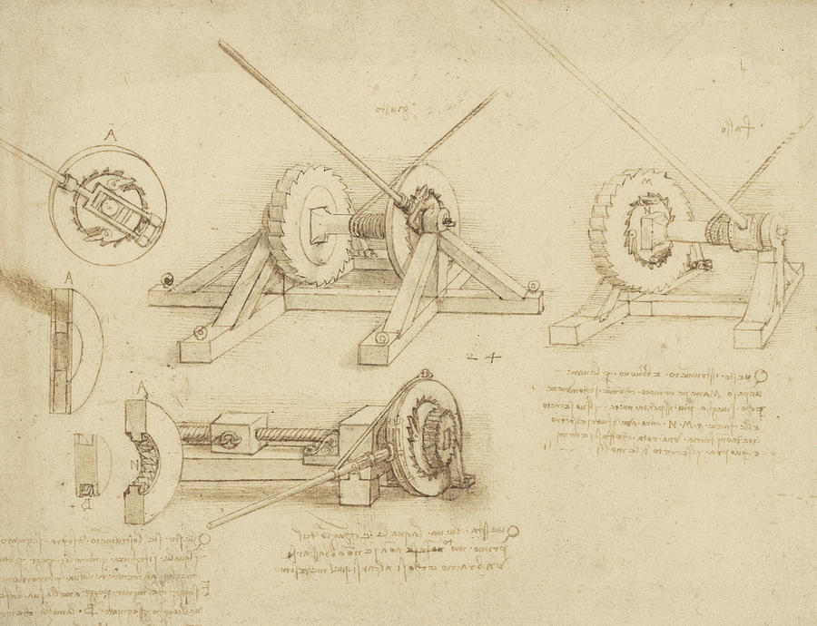 Winch Great Spring Catapult And Ladder From Atlantic Codex Drawing  - Winch Great Spring Catapult And Ladder From Atlantic Codex Fine Art Print
