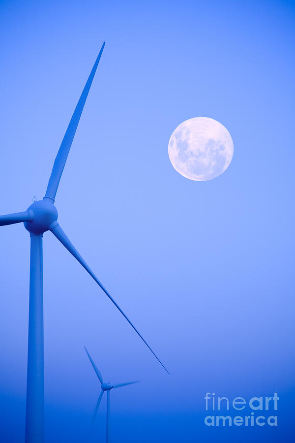 Wind Farm  And Full Moon Photograph