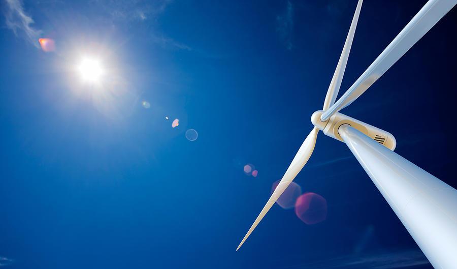 Wind Turbine And Sun Photograph