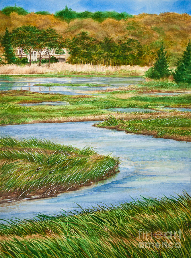 Winding Waters - Cape Salt Marsh Painting  - Winding Waters - Cape Salt Marsh Fine Art Print