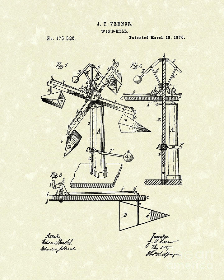 Vernor Drawing - Windmill 1876 Patent Art by Prior Art Design