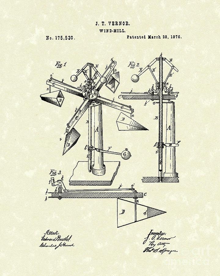 Windmill 1876 Patent Art Drawing