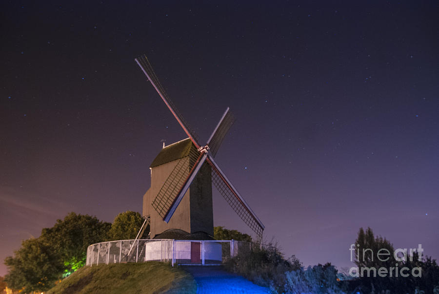 Windmill At Night Photograph