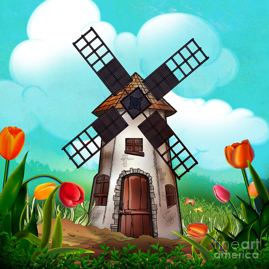 Windmill Path Digital Art  - Windmill Path Fine Art Print
