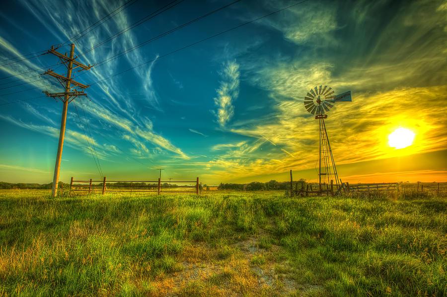 Windmill Photograph - Windmill Sunset by  Caleb McGinn
