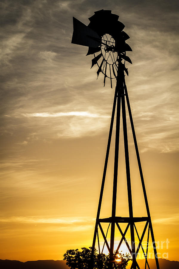 Windmill Sunset Photograph