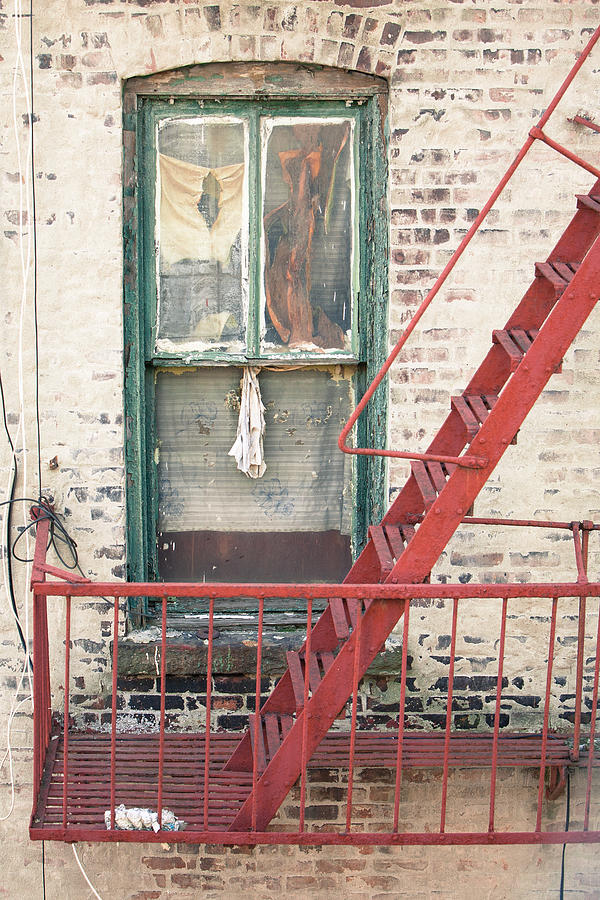 Window And Red Fire Escape Photograph