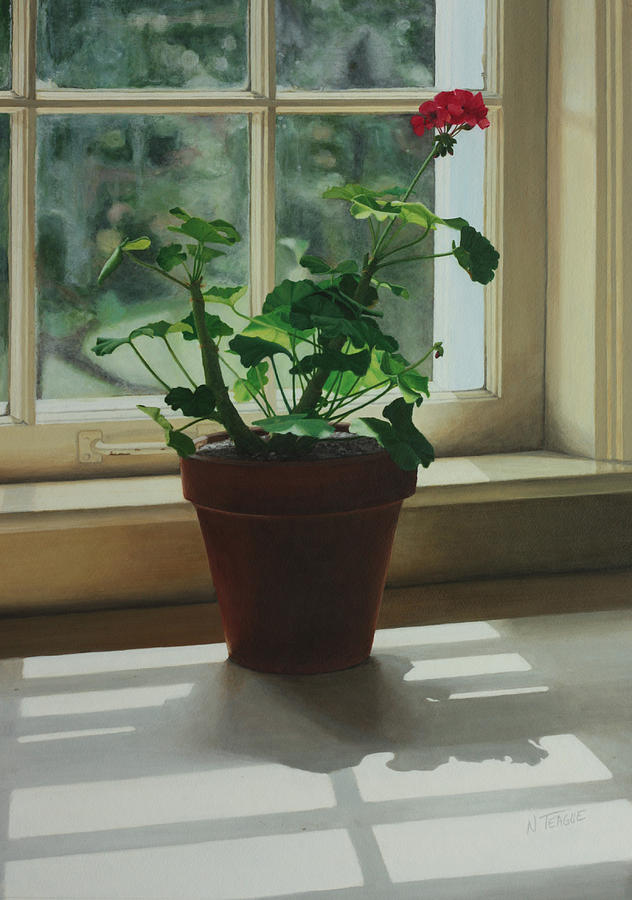 Window Light Geranium Painting
