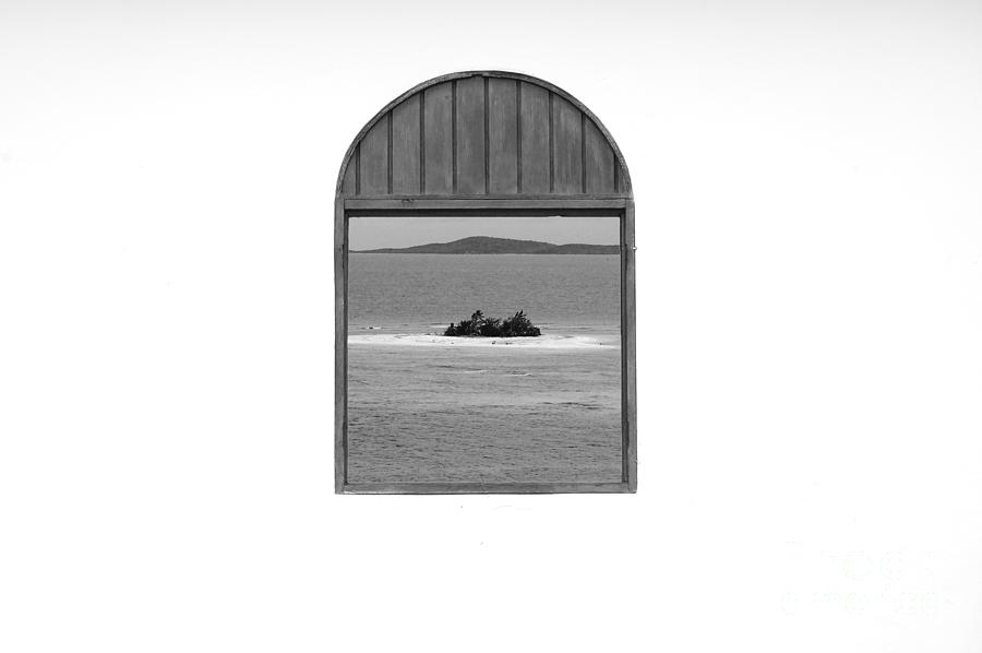 Window View Of Desert Island Puerto Rico Prints Black And White Photograph