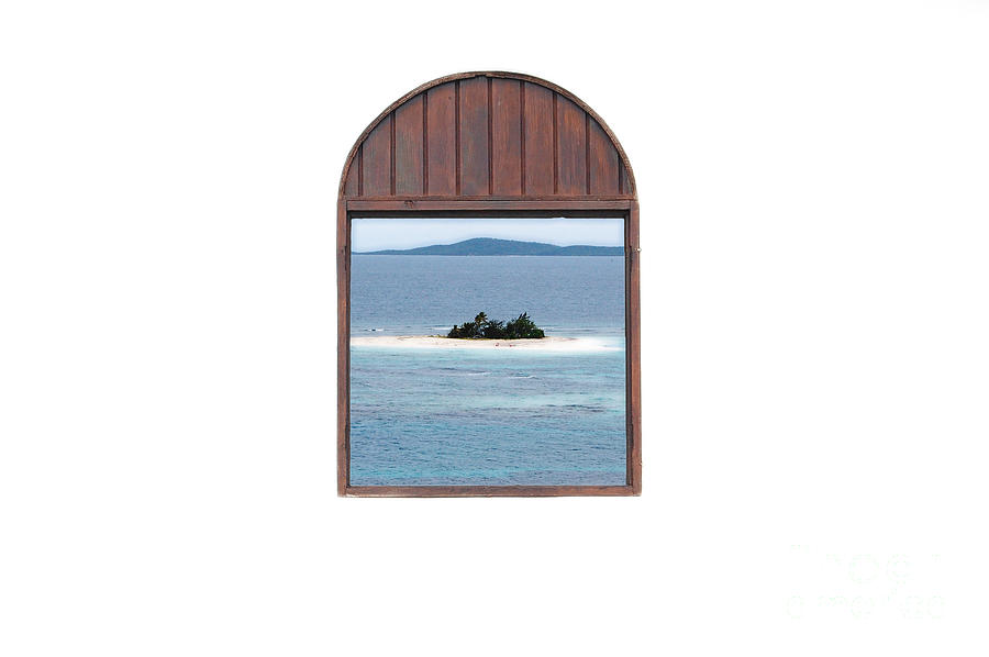 Window View Of Desert Island Puerto Rico Prints Diffuse Glow Digital Art  - Window View Of Desert Island Puerto Rico Prints Diffuse Glow Fine Art Print