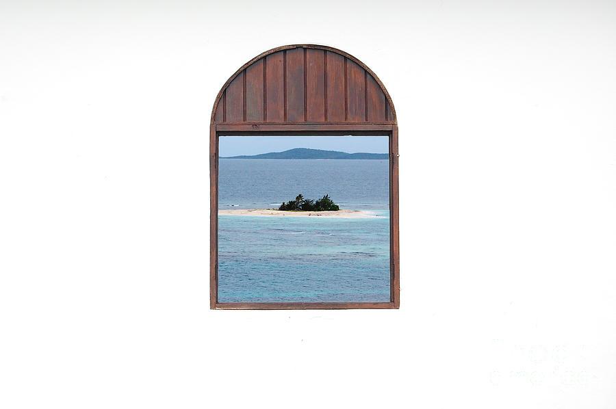 Window View Of Desert Island Puerto Rico Prints Photograph