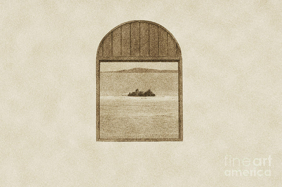 Window View Of Desert Island Puerto Rico Prints Vintage Digital Art