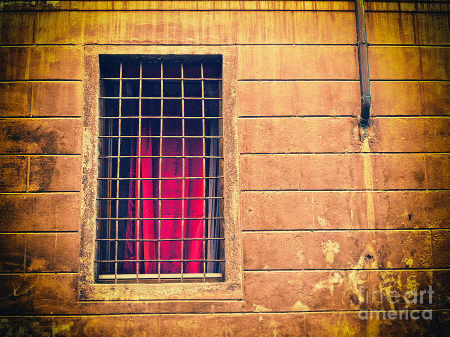 Window With Grate And Red Curtain Photograph