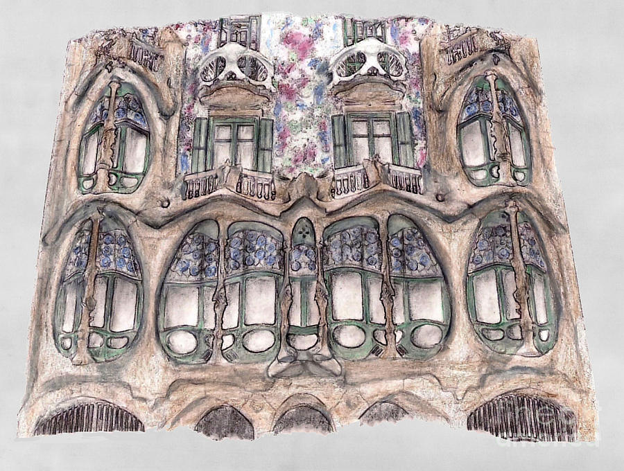 Windows At Casa Batllo Barcelona Drawing