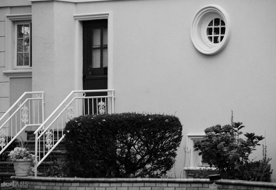 Windows In The Round In Black And White Photograph
