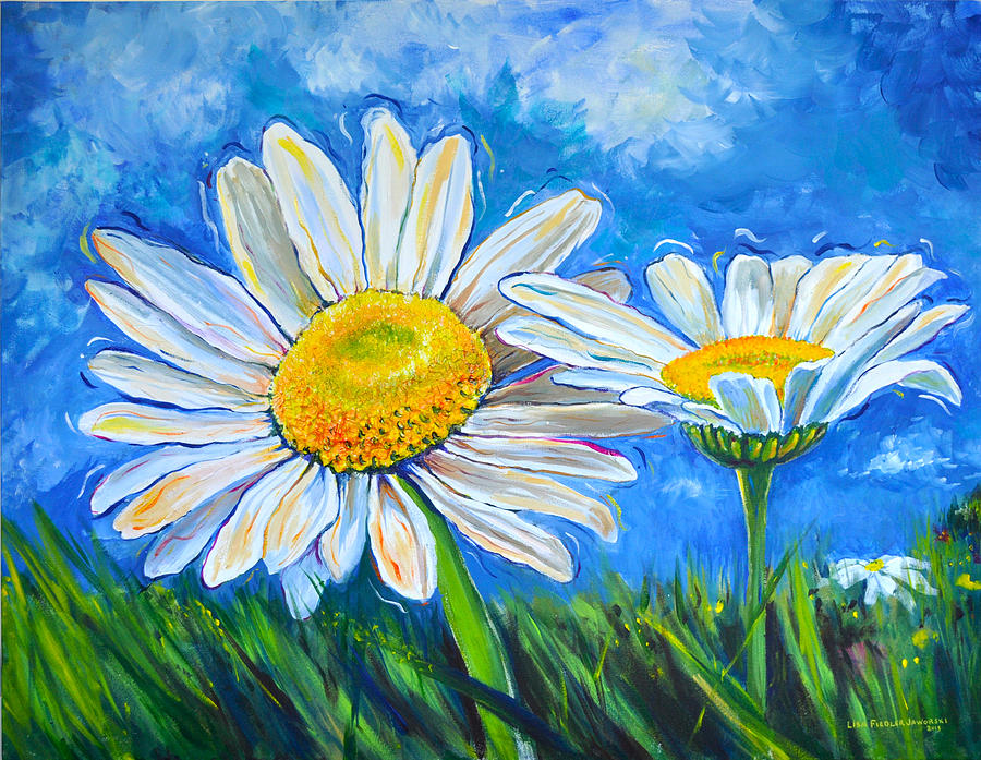 Acrylic Paintings Of Blue Daisies