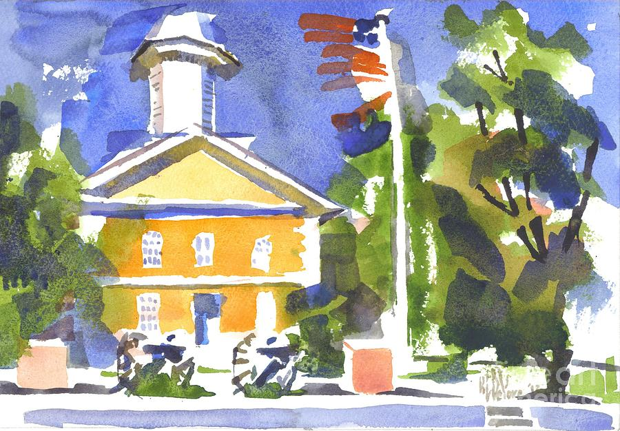 Windy Day At The Courthouse Painting  - Windy Day At The Courthouse Fine Art Print