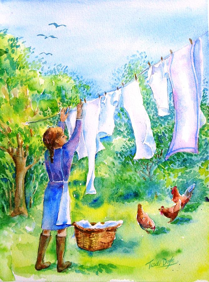 Watercolour Painting Painting - Windy Day Clothesline  by Trudi Doyle