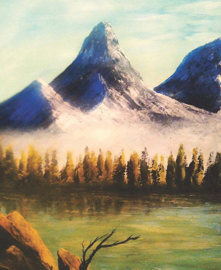 Mountain Painting - Windy Little Tree by Jessie J De La Portillo