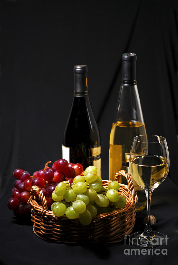Wine And Grapes Photograph
