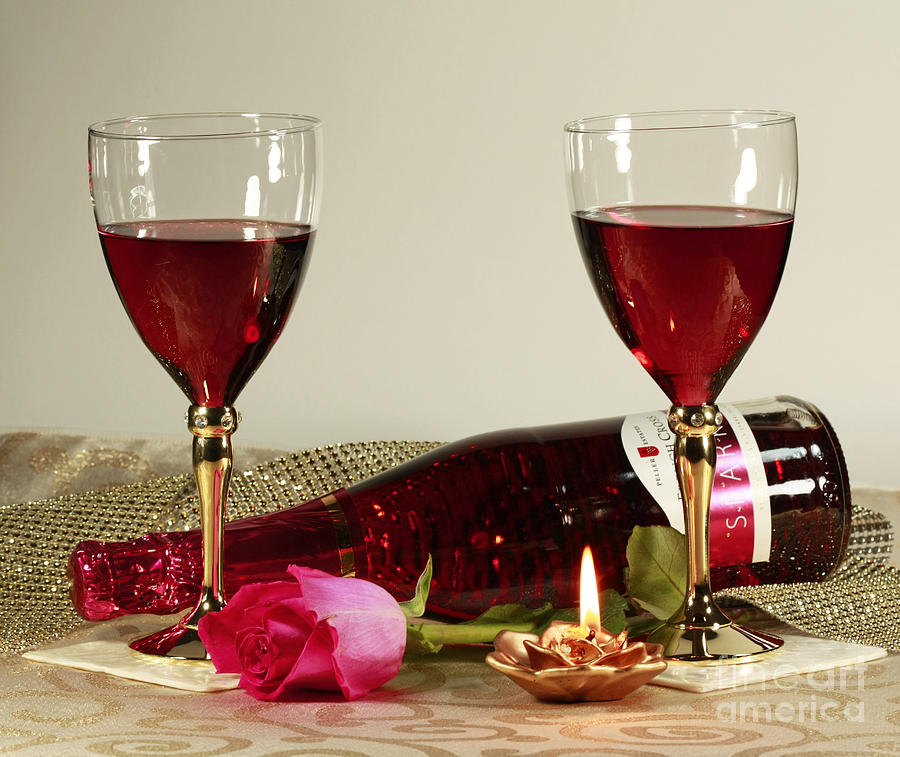 Wine And Rose By Candlelight Photograph  - Wine And Rose By Candlelight Fine Art Print