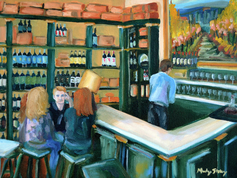 Wine Bar Rendezvous Painting  - Wine Bar Rendezvous Fine Art Print