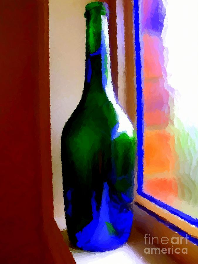 Wine Bottle Digital Art  - Wine Bottle Fine Art Print