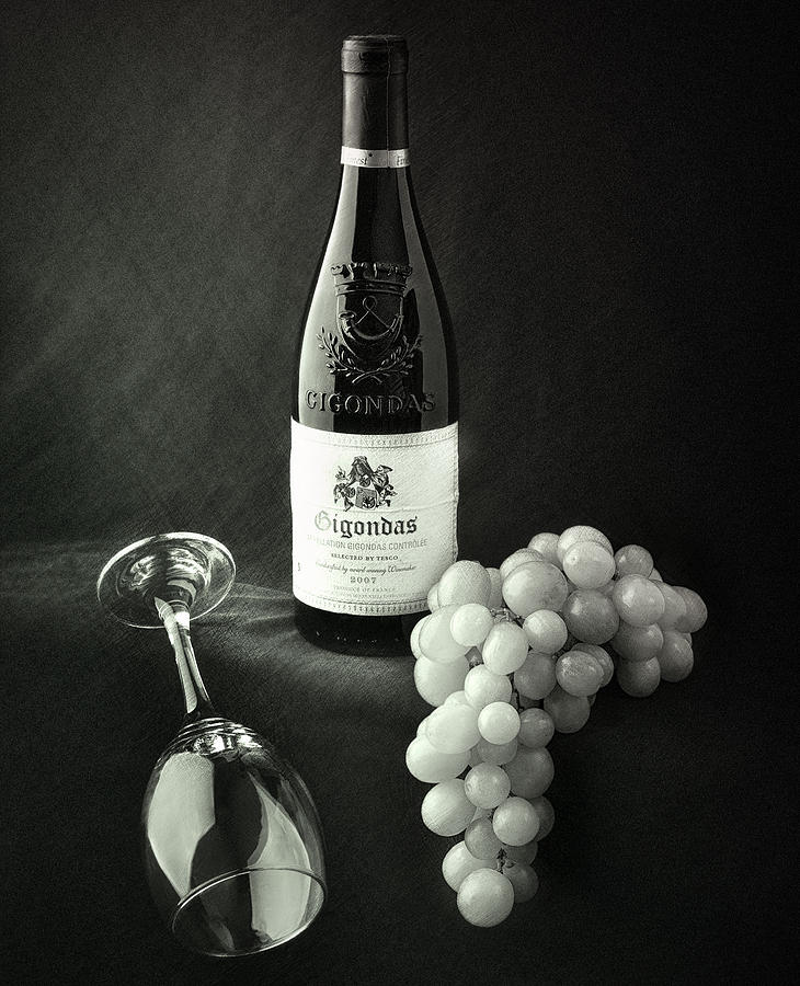 Wine Bottle Grapes And Glass Photograph