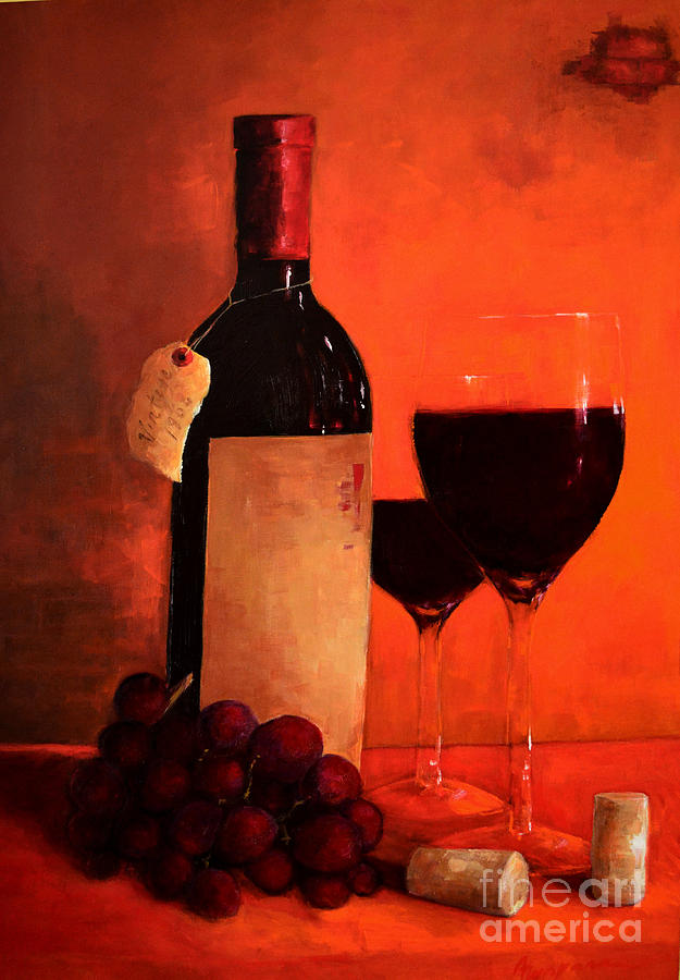 Wine Bottle  Painting  - Wine Bottle  Fine Art Print