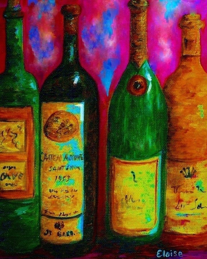 Wine Bottle Quartet On A Blue Patched Wall Painting