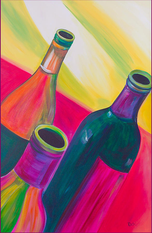 Wine Bottles Painting  - Wine Bottles Fine Art Print