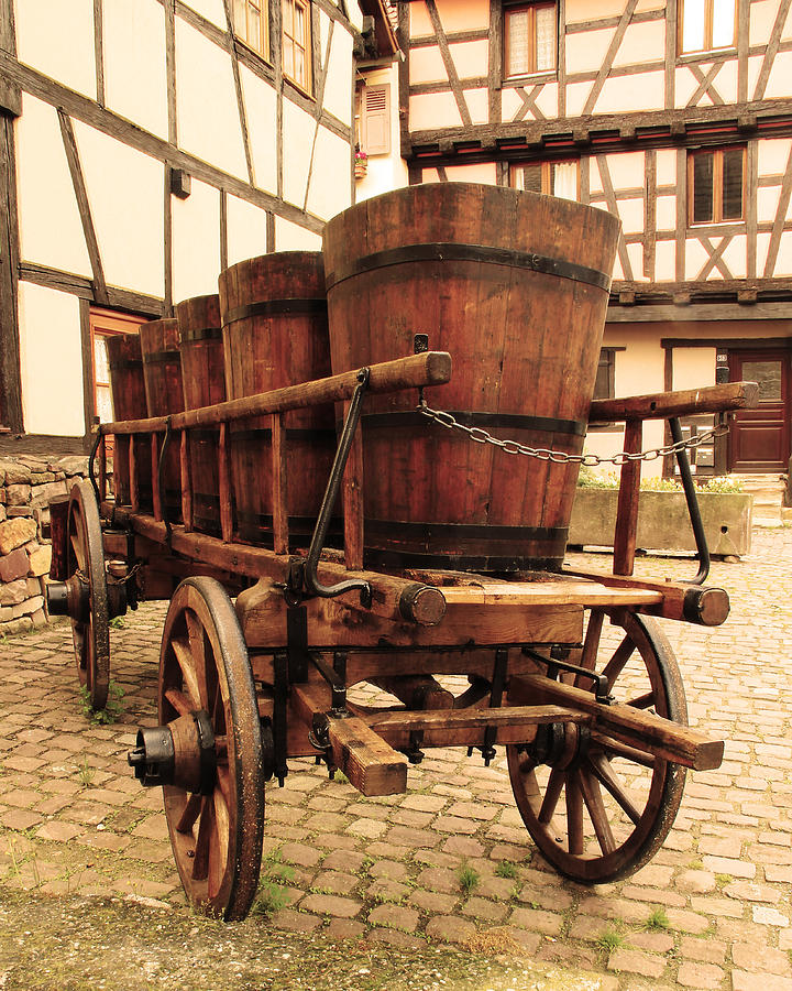 Wine Cart In Alsace France Photograph
