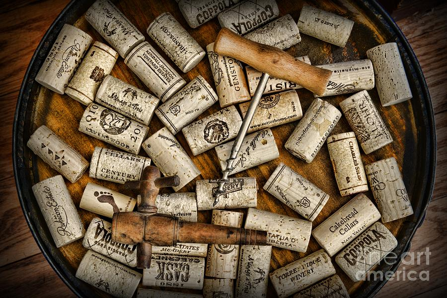 Wine Corks On A Wooden Barrel Photograph