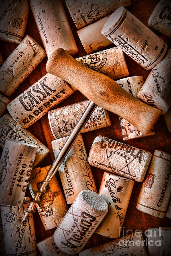 Wine Corks With Corkscrew Photograph  - Wine Corks With Corkscrew Fine Art Print