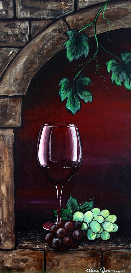 Wine Glass Painting - Red Wine Sunset by Dani Abbott