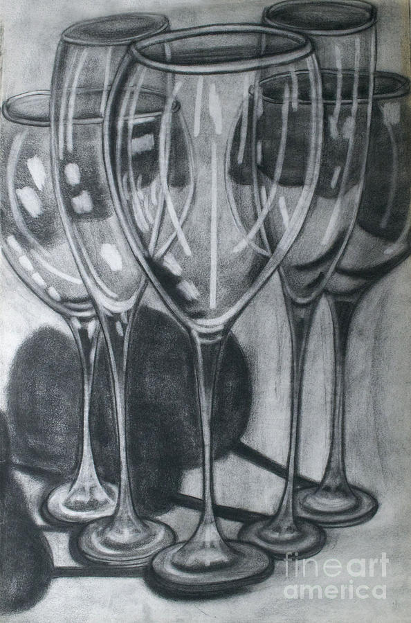 Wine glasses drawing by cecilia stevens for How to draw on wine glasses