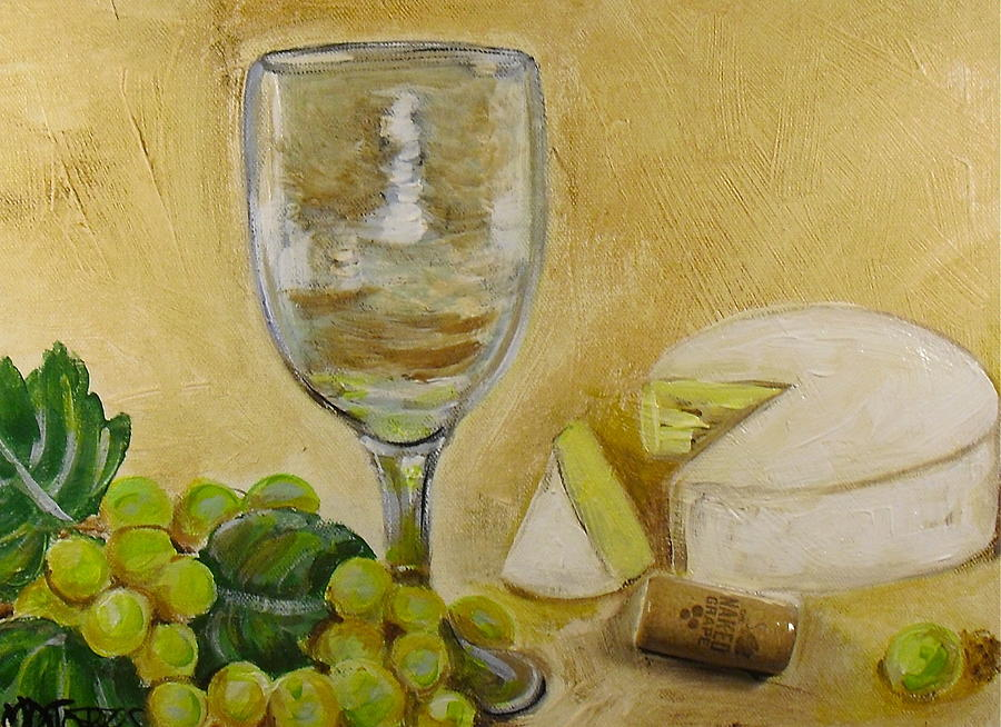 Wine Grapes And Cheese Painting