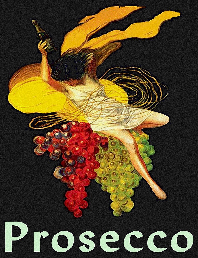 Prosecco Painting - Wine Maid Prosecco Poster by Jerry Schwehm
