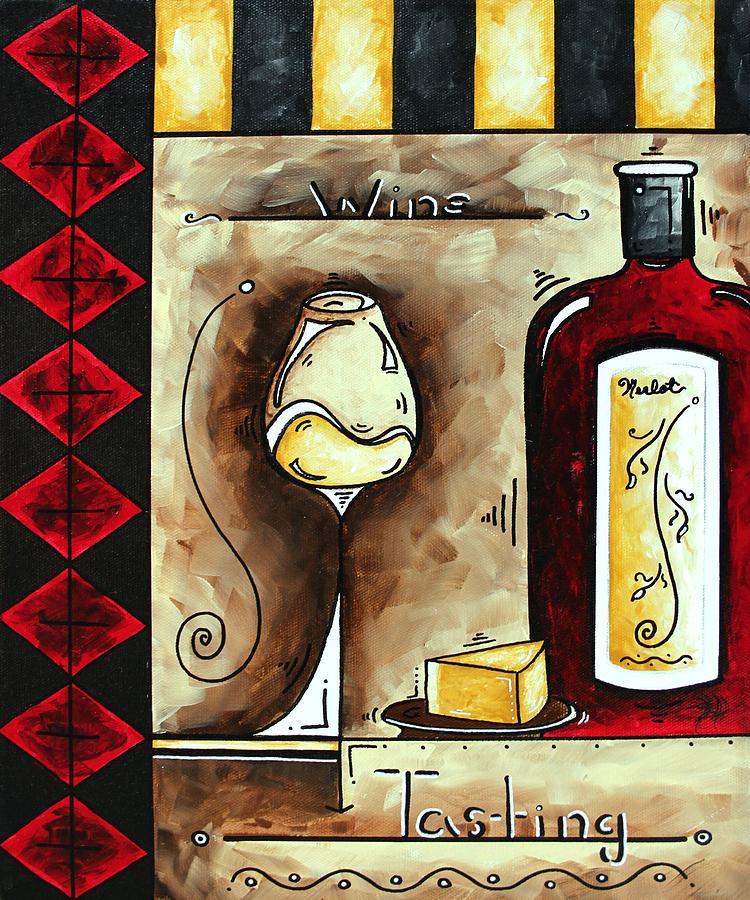 Art Painting - Wine Tasting Original Madart Painting by Megan Duncanson