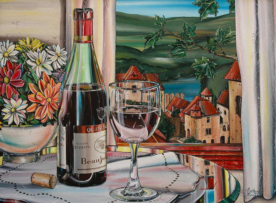 Wine With River View Painting  - Wine With River View Fine Art Print